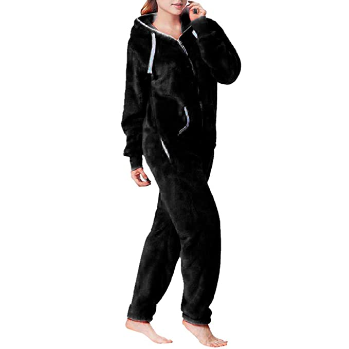 a7ba3c3e68a7 Women Comfort Fleece One Piece Jumpsuit Comfy Brushed Hoody Way All in One Pajama  Onesie (