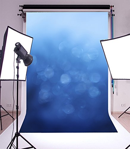 LFEEY 5x7ft Blue Bokeh Backdrop Abstract Blur Gradient Portrait Wedding Photography Background Kid Man Boy Girl Adult Photoshoot Studio Props Video Back Drop Wallpaper by LFEEY