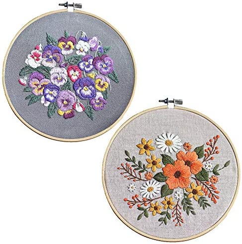 CYECTTR 2 Sets Embroidery Starter KitCross Stitch SetFull Range of Stamped Embroidery Kits2 Embroidery ClothesPlants Flowers Pattern and Instructions2 Embroidery Hoops(Purple&Orange)