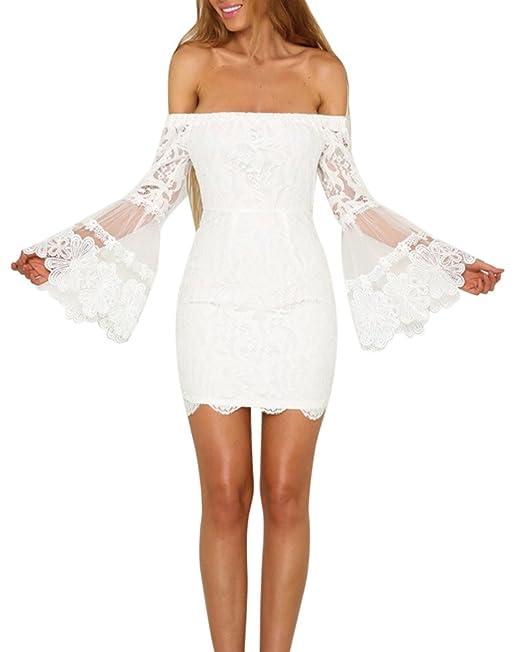 Mujeres Falda Del Vestido Fuera Del Hombro Del Cordón Del Ganchillo Manga Larga Vestido Blanco S