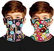 MengPa Kids Face Cover Neck Gaiter Headwear Ear Hangers Headband Summer Multifunctional Balaclavas 2Pcs
