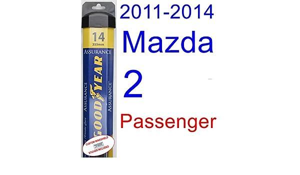 2011 - 2014 Mazda 2 hoja de limpiaparabrisas de repuesto Set/Kit (Goodyear limpiaparabrisas blades-assurance) (2012,2013): Amazon.es: Coche y moto