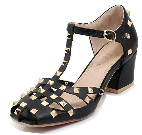 Femme Sandales Mode Aisun Chunky Noir strap T Talon Bloc Rivets pdqqwAx8