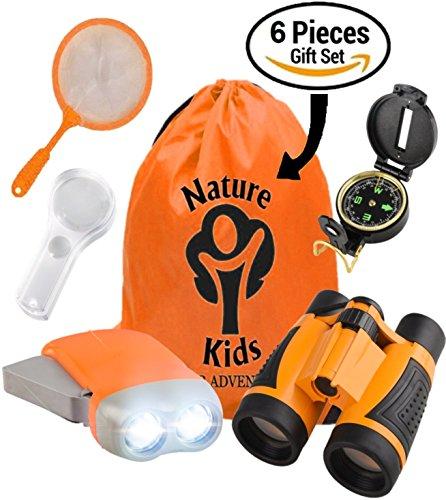 Adventure Kids   Educational Outdoor Children S Toys   Binoculars  Flashlight  Compass  Magnifying Glass  Butterfly Net   Backpack  Explorer Kit  Great Kidz Gift Set For Birthday  Camping   Hiking