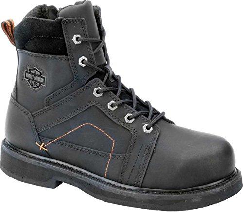 Harley-Davidson Men's Pete Steel Toe 6-Inch Boots. InsideZip D95326 (Black, -