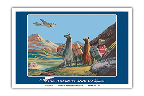 Pacifica Island Art South America - Wings Over the World - Pan American Airways System - Douglas DC-3 - Vintage Airline Travel Poster by Paul George Lawler c.1930s - Master Art Print - 12in x 18in