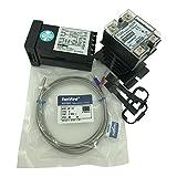 Twidec MT100-2 PID Temperature controller, 90-240VAC, 0-400 °C, Input: K, Output: SSR(DC12V);K screw probe, probe lead length 2M(78.74 inches);TC48D40 SSR 40A;Black heat sink