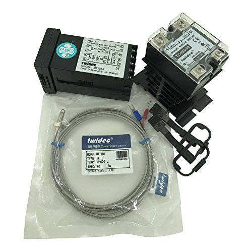 Twidec MT100-2 PID Temperature controller, 90-240VAC, 0-400 °C, Input: K, Output: SSR(DC12V);K screw probe, probe lead length 2M(78.74 inches);TC48D40 SSR 40A;Black heat sink by twidec
