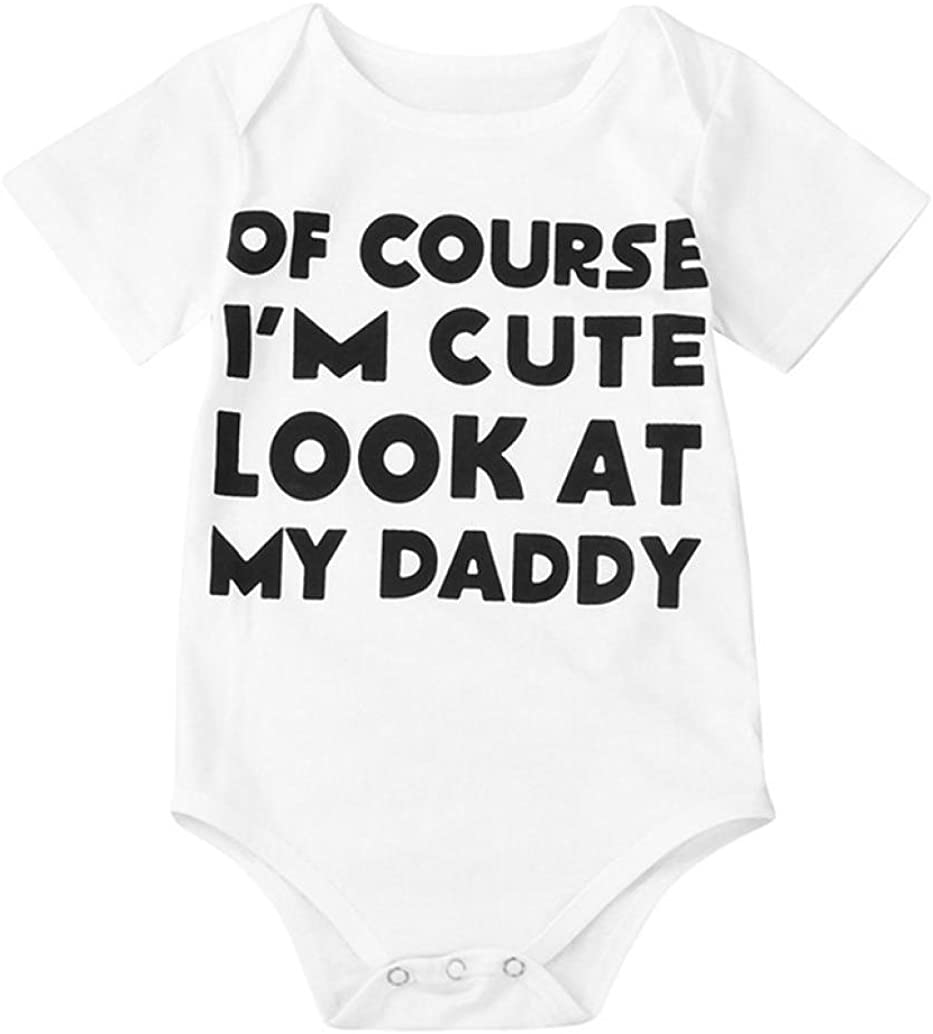 Pollyhb Baby Boys Gril Romper Newborn Infant Girl Boy Short Sleeve Letter Romper Jumpsuit Outfits Clothes