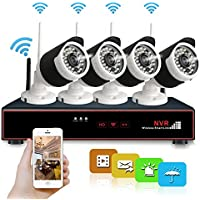 Wireless Security Camera System, Hi-Tech 4CH 1080p NVR with (4) Bullet Cameras with Night Vision, Motion Detection, iOS Android App Remote Access