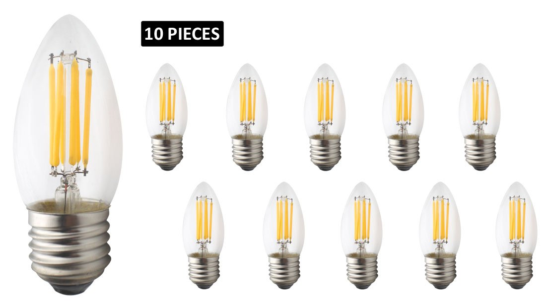 JCKing 10-Pack AC 110-130V E26 LED Dimmable Filament Vintage Light Bulb, 6W LED Candle Bulbs, 60W Incandescent Bulbs Replacement, SES Candle Light Bulb for ...