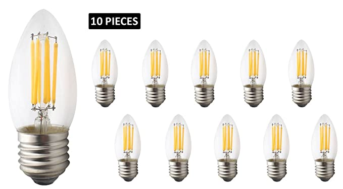 JCKing 10-Pack AC 110-130V E26 LED Dimmable Filament Vintage Light Bulb,