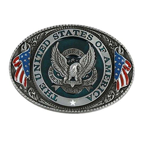 [MASOP Classic Metal USA American Flag Eagle Waist Leather Belt Buckle Head] (Metal Classic Belt)