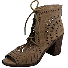 "Breckelle's Women's ""Gabby-11"" peep toe sandal features vegan-friendly suede throughout, zip back closure, open toe front & adjustable ties. 3""faux wooden heel. Imported."