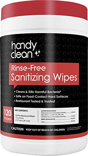 HandyClean Rinse Free Sanitizing Wipes Safe for Food Contact Surface, 120 count Canister - multipurpose kitchen cleaning for counter, high chairs, strollers etc ()