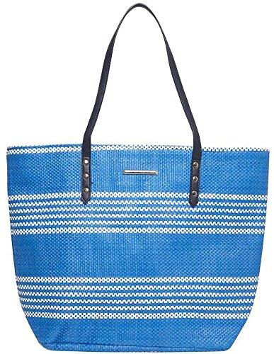 Reusable Beach Tote Canvas Peach Stripe or Summer Bag Shopper Bags Metallic Holiday Bag Womens Large Blue Shoulder Multi wq5x8qUC
