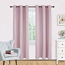 Blackout Curtain Panels for Girls Room - Nicetown Nursery Essential Thermal Insulated Solid Grommet Top Blackout Draperies / Drapes (1 Pair,42 x 72 Inch in Baby Pink)