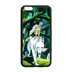STYLE-UM@ Durable Soft TPU Case for iPhone 6 with Princess Mononoke Design (White or Black) ,4.7 inch