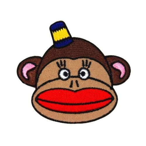 Embroidery Design Sock Monkey (Cute Sock Monkey Patch Kitsch Kids & Children Apparel Craft Iron-On Applique.You've seen them on jackets, jeans, shirts, backpacks, even sneakers)