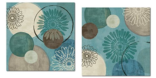 Lovely Teal and Brown Abstract Circle Patterned Set by Daphne Brissonnet; Two 12x12in Poster Prints (Teal And Brown Wall Art)