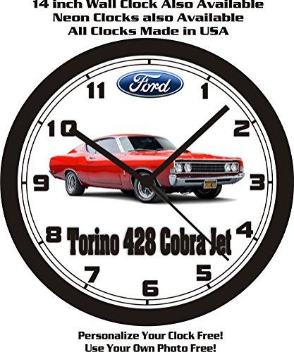 (1969 FORD TORINO 428 COBRA JET WALL CLOCK-FREE USA SHIP!)
