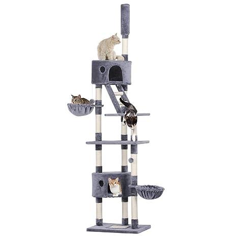 Yaheetech Árbol para Gatos Rascador Escalera 227-254 cm Altura Ajustable Centro de Juego para