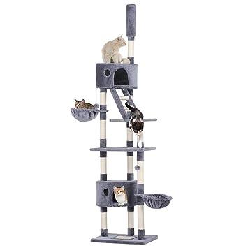 Yaheetech Árbol para Gatos Rascador Escalera 227-254 cm Altura Ajustable Centro de Juego para Gatos Gris: Amazon.es: Productos para mascotas