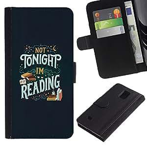 iBinBang / Flip Funda de Cuero Case Cover - Tonight Reading Book Text Book - Samsung Galaxy Note 4 SM-N910