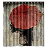 Urban Outfitters Curtains Generic Custom Unique Red Umbrella Under The Couple Waterproof Polyester Shower Curtain 66