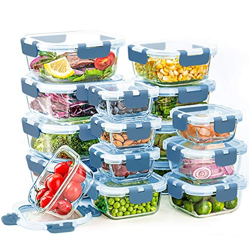 Glass Food Storage Containers with Lids, 16 Pack Food Storage Container Set, Glass Lunch Boxes, Leak Proof