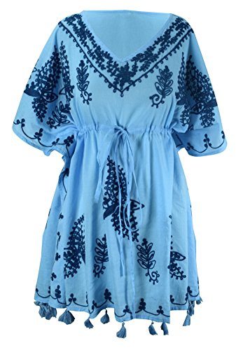 Peach Couture Summer Womens Boho Cotton Floral Embroidered Cover-up Beachwear Kaftan Tunic Blue Navy
