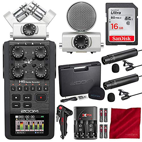 Zoom H6 Six-Track Handy Portable Recorder with 16GB Card and Dual Lavalier Microphone Accessory Bundle ()