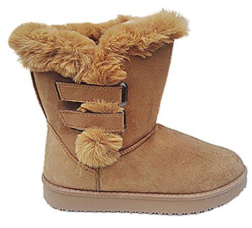 Femme Fille Bottine Botte boots Chaussure fourrées fur Plat hiver Talon 35756 CAMEL