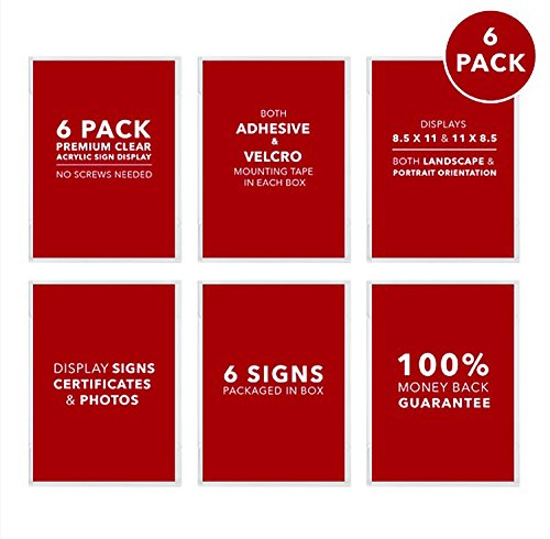 Madison Frame (Premium Acrylic Sign Holders Wall Mount Displays with both permanent Adhesive and removable Hook and Loop tape in every Pack No Screws needed (6)