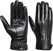 Winter Gloves Men - Acdyion Genuine Leather Touch Screen Warm Driving Gloves