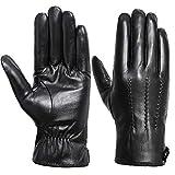 Winter Gloves Men - Acdyion Genuine Leather Touch Screen Warm Driving Gloves,Black-Fleece,Medium