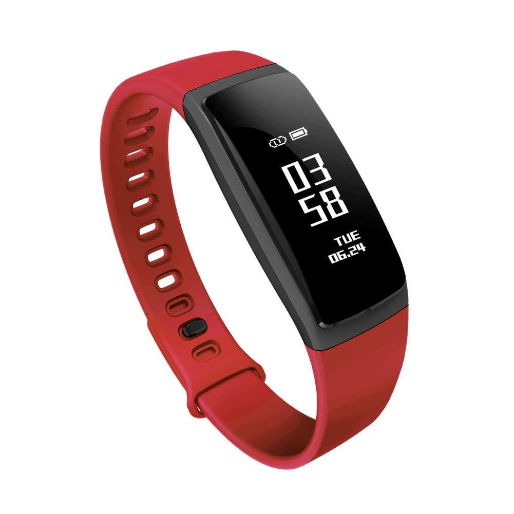 ZLLZ Smart Bracelet Blood Pressure Heart Rate Monitor Bluetooth Sports Bracelet, Fitness Tracker Smart Watch Smart Bracelet for Men, Women and Children-red by ZLLZ