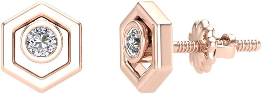 Diamond Earrings Hexagon Shape Studs Bezel Settings 10K Gold (0.10 ctw)