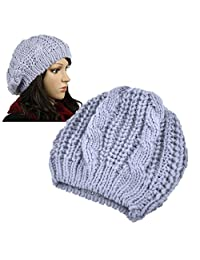 Insten Women Knit Crochet Hat, Light Gray