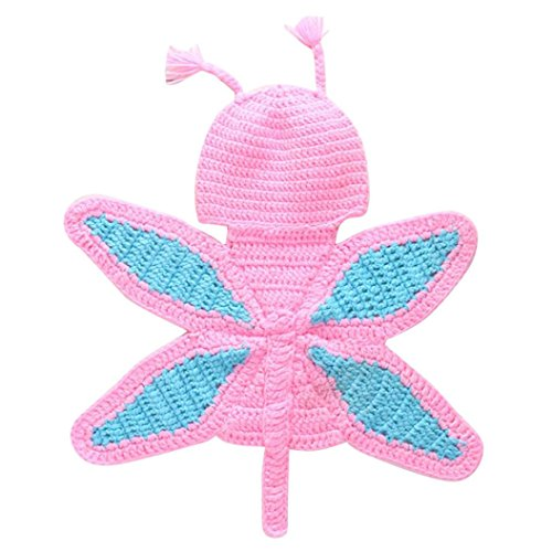 Pumpkin Crocheted - Baby Knitted Butterfly suit,Weiyun Crocheted Baby Hats, Cloth Sets Of Baby Neonatal Photography Props For 0-6 Months (Pink)