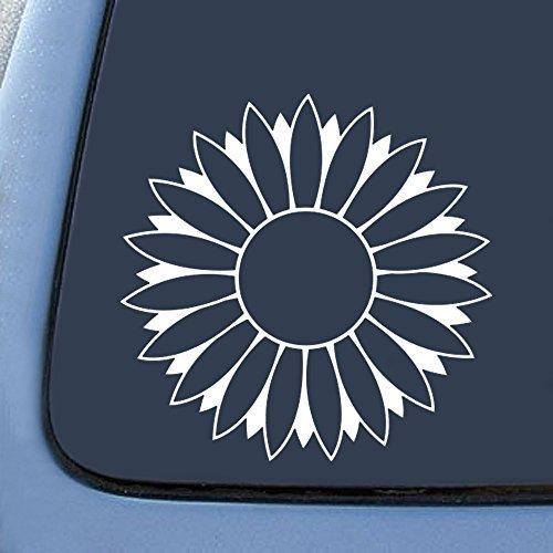 Flower Car Sticker (Flower Sunflower White Sticker Decal Notebook Car Laptop 5