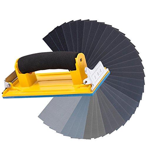 128pcs Sandpaper With Sandpaper Holder 120 To 3000 Assorted Grit Sandpaper for Wood Furniture Finishing Metal Sanding Automotive Polishing Dry or Wet (Metal Sandpaper Holder)