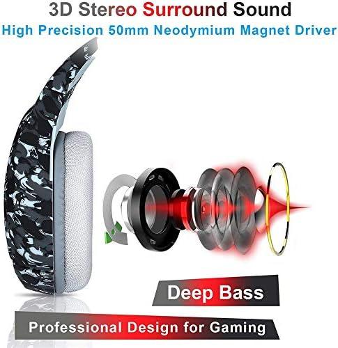 Xbox One PS4ゲーミングヘッドセット(マイク付き)3.5mmマイクとPS4 / Xbox One/PC/Mac/iPad/モバイル用の低音サラウンドサウンドキャンセル