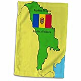 3dRose 777images Flags and Maps - Map and Flag of Moldova with the Republic of Moldova printed in both English and Romanian - 12x18 Hand Towel (twl_47329_1)