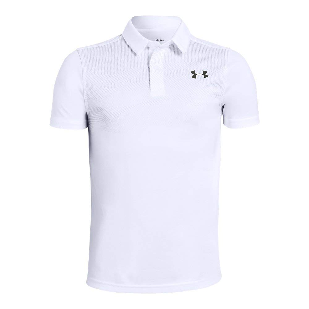 Under Armour Tour Tips Engineered Polo, White//Pitch Gray, Youth X-Large by Under Armour