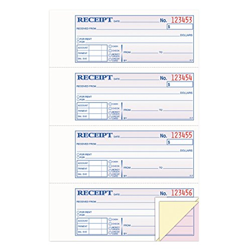 Triplicate Receipt Book (TOPS Money/Rent Receipt Book, 3-Part, Carbonless, 11 x 7-5/8 Inches, 4 Receipts/Page, 100 Sets per Book (46808))