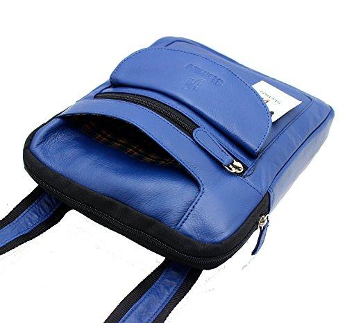 StarHide® Bolso Genuino Unisex Del Diseñador Cuero, Bolso Cruzado Del Cuerpo / Del Hombro / Del Recorrido / Del Mensajero Para Encienden La Tableta De Ipad #505 Azul