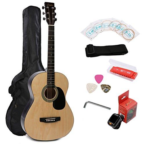 IMusic 38 Inch Gloss Natural Acoustic Guitar Starter Kit Beginner Package