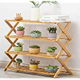 4 layers Wooden Bamboo Plant Flower Stand Plant Shelf Standing Flower Pots Shelf Flower Pots Rack Display for Indoor…