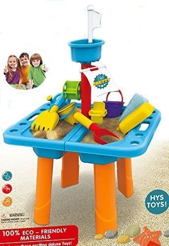 Sandbox 2-in-1 Sand and Water Wheel Table with Beach Sand Toys Set by Everything Jingle Bell